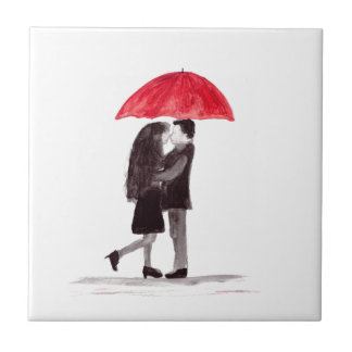 Love couple with red umbrella art tile
