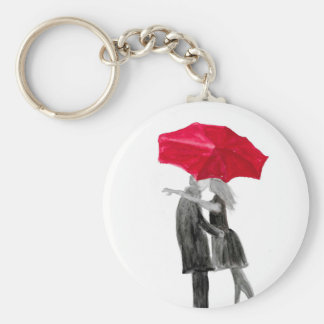 Love couple with red umbrella basic round button keychain