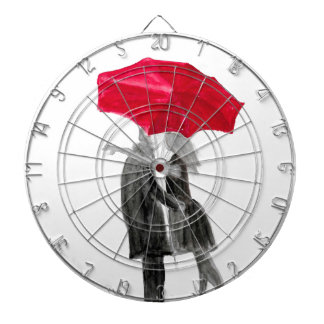 Love couple with red umbrella dartboard