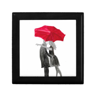 Love couple with red umbrella gift box