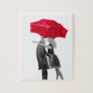 Love couple with red umbrella jigsaw puzzle