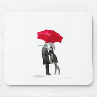 Love couple with red umbrella mouse pad
