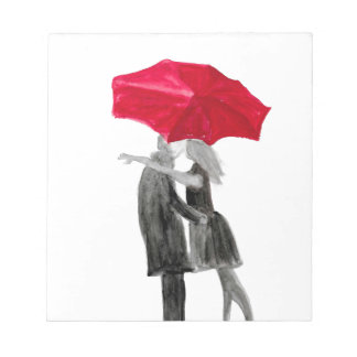 Love couple with red umbrella notepad