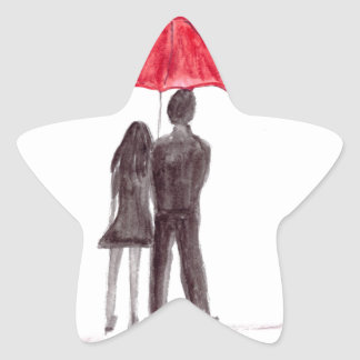 Love couple with red umbrella romantic couple star sticker