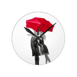 Love couple with red umbrella round clock