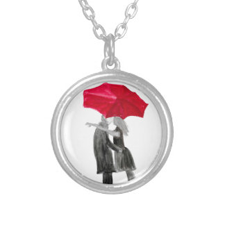 Love couple with red umbrella silver plated necklace