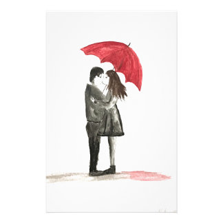 Love couple with red umbrella stationery