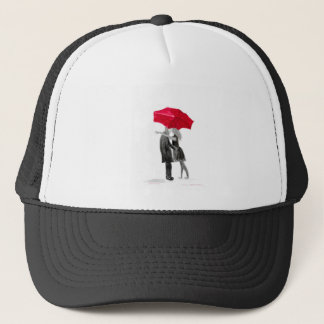 Love couple with red umbrella trucker hat