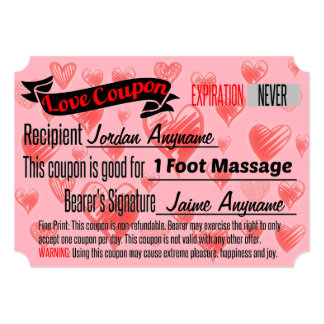 Love Coupon for Foot Massage Card