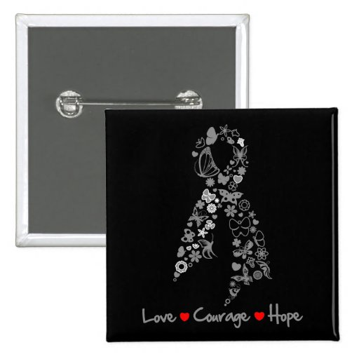 Love Courage Hope Butterfly - Brain Cancer Pinback Button