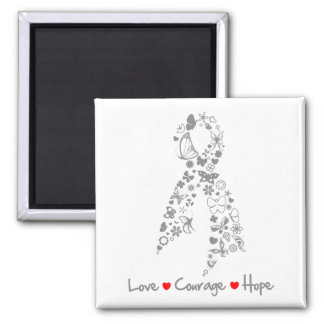 Love Courage Hope Butterfly - Brain Cancer Magnets