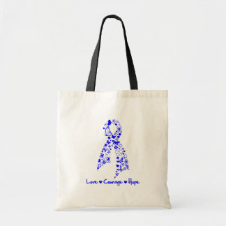 Love Courage Hope Butterfly -  Colon Cancer Budget Tote Bag