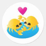 Love Crabs Round Stickers