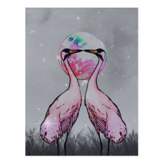 Love Cranes B&W Background Postcard