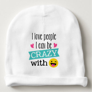 Love Crazy People Emoji Baby Beanie