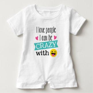 Love Crazy People Emoji Baby Romper
