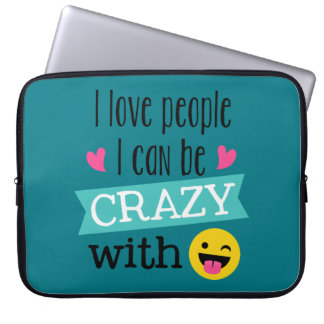 Love Crazy People Emoji Laptop Sleeve