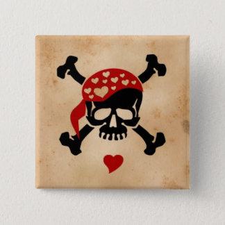 Love & Crossbones 2 Inch Square Button