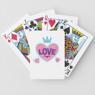 Love crown and hearts bicycle playing cards
