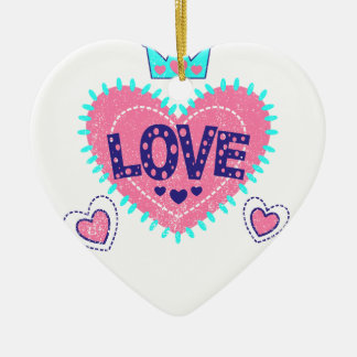 Love crown and hearts ceramic heart ornament