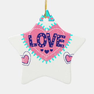 Love crown and hearts ceramic star ornament