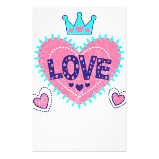 Love crown and hearts custom stationery