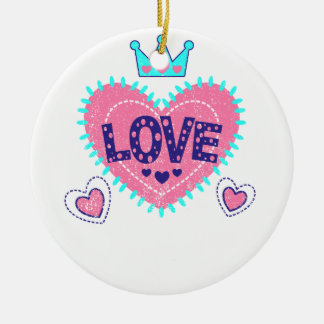 Love crown and hearts round ceramic ornament
