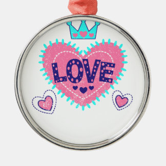Love crown and hearts Silver-Colored round ornament