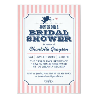 Love Cupid Invitation in Navy Blue and Pink