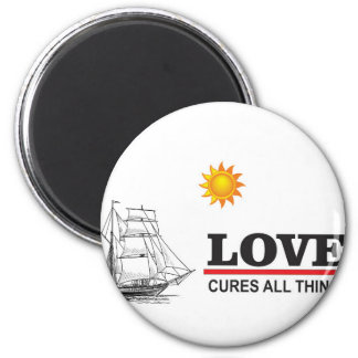 love cures all things 2 inch round magnet