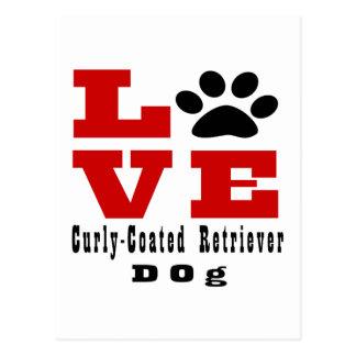 Love Curly-Coated Retriever Dog Designes Postcard