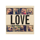 Love - Custom Collage with 8 Instagram Photos Wood Wall Decor