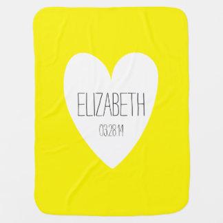 Love Custom Name Birth Date Yellow Baby Blanket