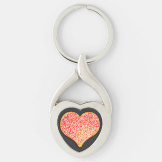 LOVE - Custom Your Color- twist heart Metal Silver-Colored Twisted Heart Keychain