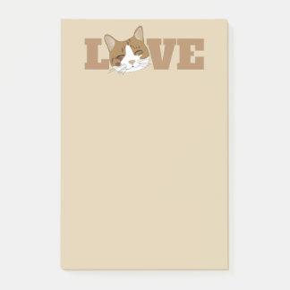 LOVE - Cute Happy Cat Beige Post It Notes