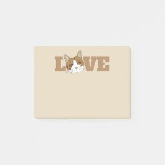 LOVE - Cute Happy Cat Beige Post-It-Notes Post-it Notes
