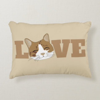 LOVE - Cute Happy Smiling Cat Accent Pillow