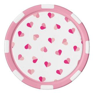 Love Cute Pink Heart Pattern Poker Chip Set