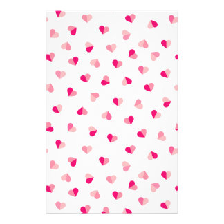 Love Cute Pink Heart Pattern Stationery