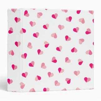 Love Cute Pink Heart Pattern Vinyl Binder