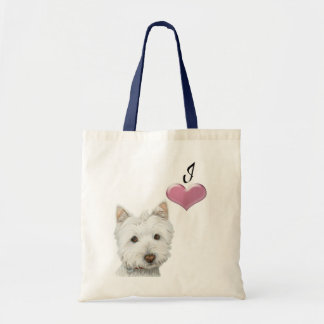 Love Cute Westie Dog Art with 3D Heart Tote Bag