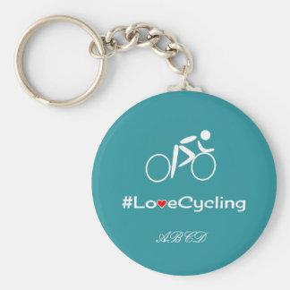 Love cycling caption add initials custom blue basic round button keychain