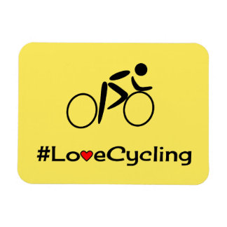 Love cycling slogan cyclist magnet