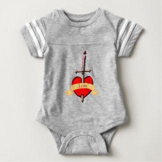 love dagger pierced heart baby bodysuit