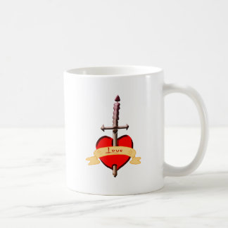 love dagger pierced heart coffee mug