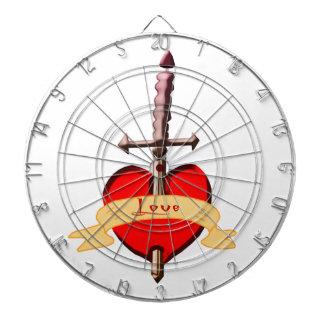 love dagger pierced heart dartboard