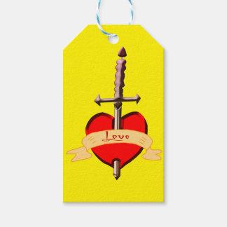love dagger pierced heart gift tags