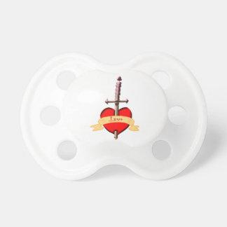 love dagger pierced heart pacifier