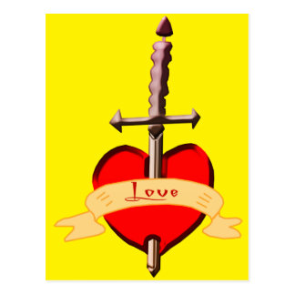 love dagger pierced heart postcard