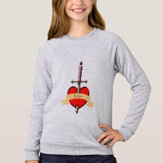 love dagger pierced heart sweatshirt